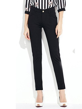 Simple Stretchy Straight-Leg Pant