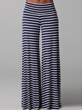 Casual Stripes Wide-Leg Pant