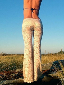 White Lace Hollow Out Palazzo Women's Pants