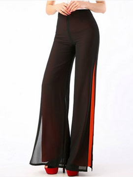 Chiffon Palazzo Solid Color Casual Pants