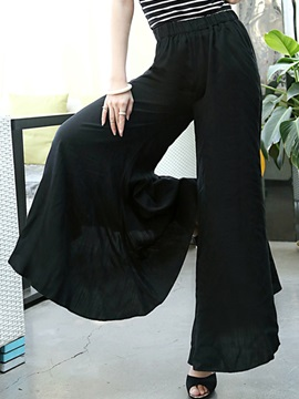 Solid Color Pleated Palazzo Women's Casual Pants
