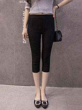Solid Color Pleated Patchwork Slim Leggings