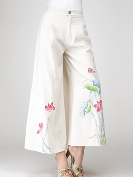 White Flower Printed Palazzo Pants