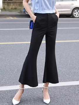 Plain Mid-Waist Loose Bellbottoms Casual Pants