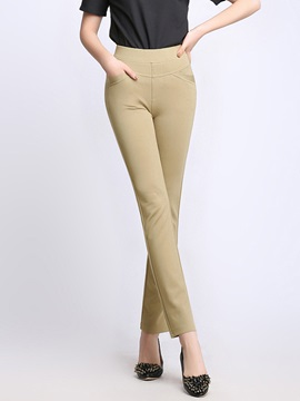 Slim Cotton High-Waist Elastics Casual Pants