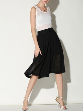 Chiffon Pleated Wide Leg Casual Pants