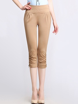 Solid Color Zipper Patchwork Cropped Pants