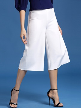 White Wide Leg Cropped Casual Pants