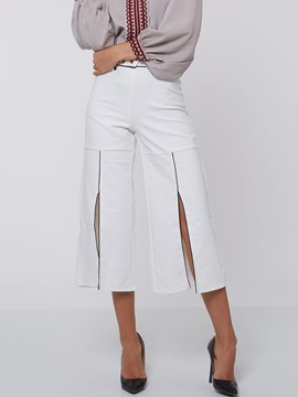 Black And White Placketing Belt Casual Pants