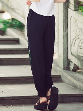 Mid-Waist Linen Embroidery Knickerbockers Casual Pants