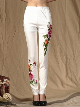 Slim Elastics Delicate Embroidery Floral Casual Pants