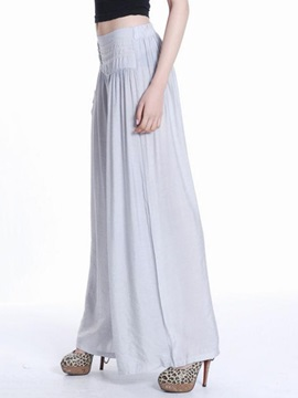 Pleated Chiffon Wide Leg Casual Pants