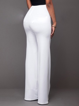 White Rivet Buckle Decorated Palazzo Pants