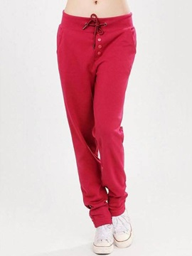 Solid Color Strap Harem Casual Pants