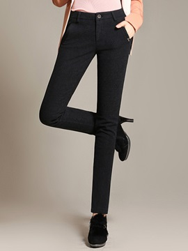 Plain Mid-Waist Cotton Slim Casual Pants