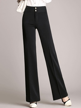 Buttons High Waisted Straight Women's Pants