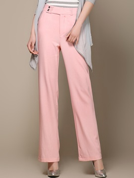 Solid Color High Waist Buckle Patchwork Pants