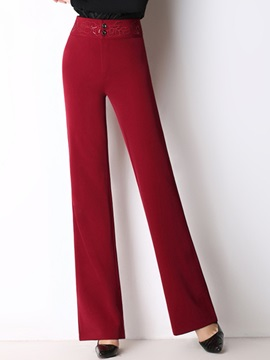 High Waist Wear To Work Palazzo Pure Color Pants