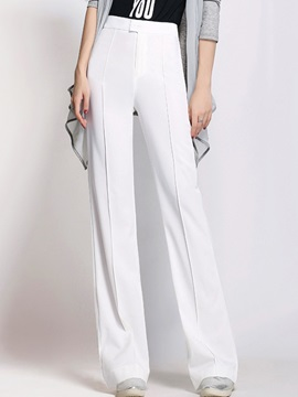 High-Waist Plain Wide Legs Chiffon Zipper Button Casual Pants
