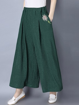 Cotton Blends Floral Embroidery Patchwork Pocket Wide Legs Casual Pants