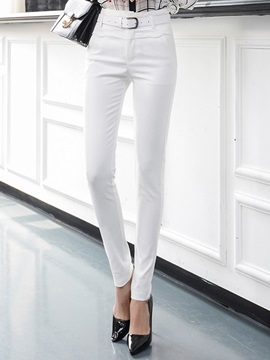 High-Waist Plain Slim Cotton Patchwork Zipper Belt Pocket Casual Pants