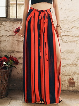 High-Waist Cotton Wide Legs Stripe Asymmetric Casual Pants