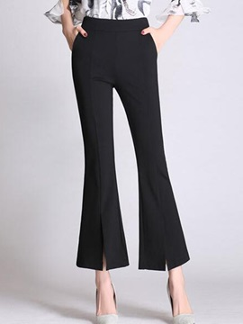 Slim High-Waist Elastics Bellbottoms Casual Pants
