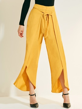 Plain Loose Asymmetrical Casual Pants