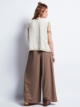 Loose Plain Wide Legs Women's Casual Pants