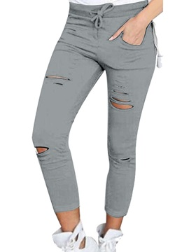 Skinny Hole Cotton Lace-Up Casual Pants