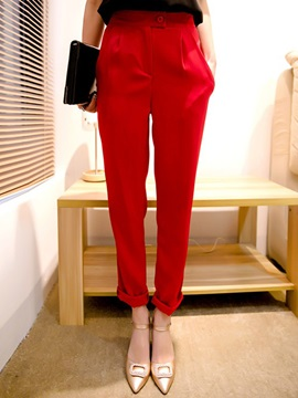 Plain High-Waist Loose Harem Casual Pants