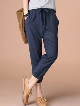 Loose Linen Lace-Up Casual Pants