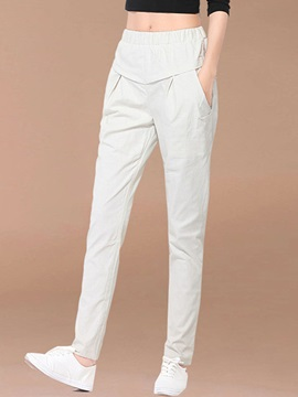 Plain Loose Elastics Casual Pants
