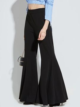 Slim Pleated Bellbottoms Female Casual Pants