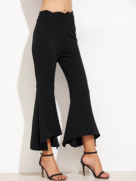 Slim Asymmetric Pleated Bellbottoms Casual Pants