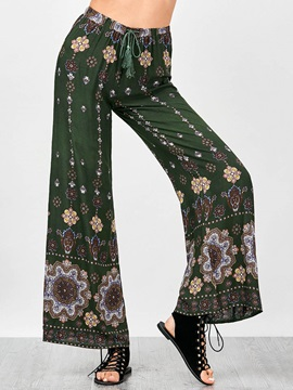 Loose Print Lace-Up Wide Legs Casual Pants