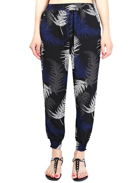 Print Chiffon Pleated Elastics Casual Pants