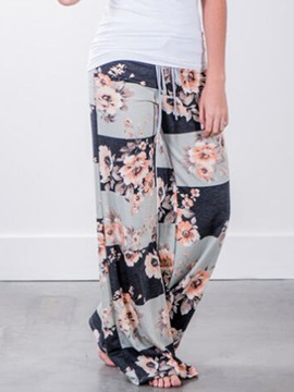 Lace-Up Floral Pleated Wide Legs Casual Pants