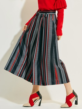 High-Waist Loose Print Bowknot Stripe Pants