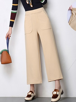 Plain Ankle Length Mid-Waist Casual Pants