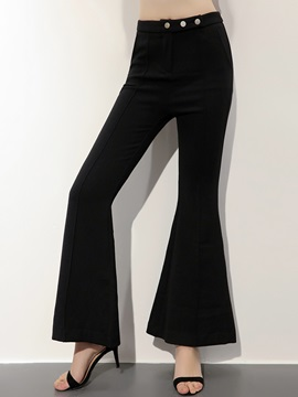Slim High-Waist Plain Bellbottoms Casual Pants