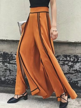 Loose Stripe Slit Wide Legs Casual Pants
