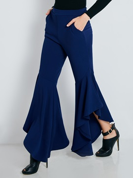 Slim Full Length Asymmetric Women's Bellbottoms