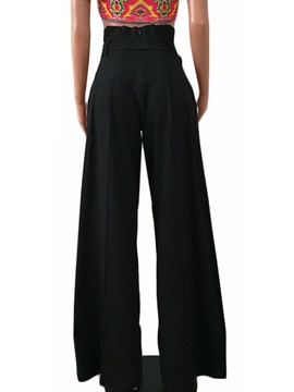 High Waist Loose Wide Leg Lace-Up Women's Casual Pants