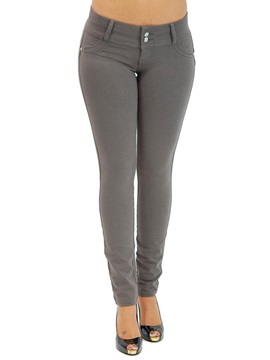 Slim Plain Button Stretchy Women's Pants