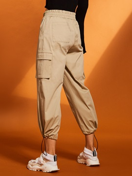 Pocket Wide Legs Drawstring Women's Cropped Pants