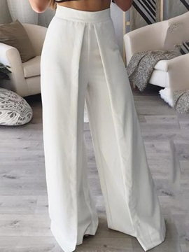 Plain White Wide Leg Women's Pants