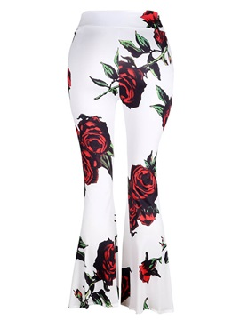 Floral Print Slim Wide Leg Women's Pants