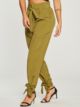 Plain Bowknot Pocket Women's Harem Pants