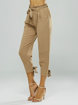 High Waist Solid Color Women's Casual Pants